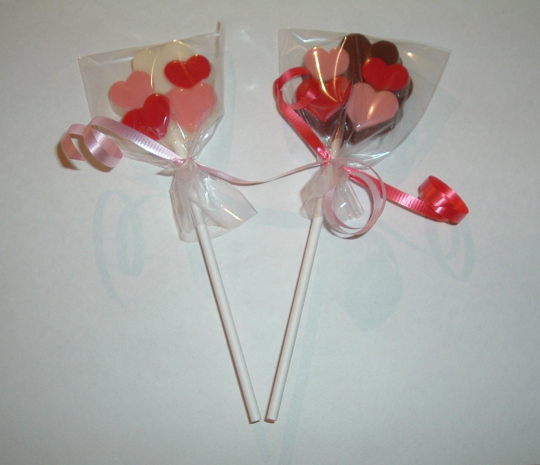 SherryLynn Creations - Valentines Chocolate Heart Lollipops Set of 6